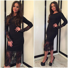 Casual Lace Dress Sexy Girl Long Sleeve Knee Length Skirt Party Evening Cocktail