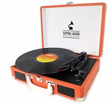 ORANGE SUITCASE VINYL RECORD PLAYER * USB CONNECTIVITY * 5 WATT SPKS. TURNTABLE