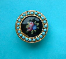 A 17mm Antique French Floral Enamel Button Turquoise Pierreries Border