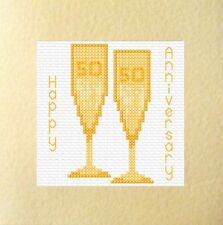 "50th Golden Glasses Wedding Anniversary Card Cross Stitch Kit 5.5""x5.5"" 14 Count"