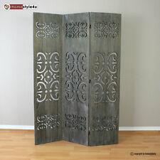 3 fach Paravent Raumteiler Holz Trennwand grau washed mit Schnitzerei
