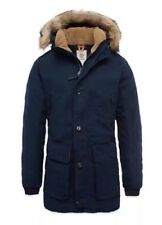$398 NWT Timberland Men's Scar Ridge Waxed Canvas Down Parka Navy Blue A1CDI. S