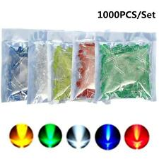 1000Pcs 5mm 2 Pin Blue Green Yellow Red White LED Diode Mixed Color Light Lamp