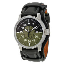 Fortis Flieger Cockpit Automatic Black and Green Dial Black Leather Mens Watch