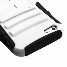 For iPhone SE / 5S - 2 in 1 Total Defense Case Black White Kickstand Dual Layer