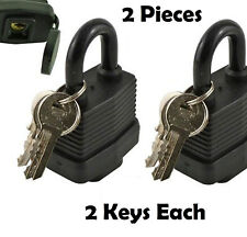 2X 40mm Keyed Waterproof Laminated Padlock Pad Lock + 2 Key Gate Door BlacK UK