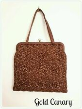 Vintage Silchrest 50s Brown Satin Lace Evening Wedding Party Bag Purse Boho Glam