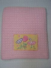 Nojo Pink Waffle Knit Baby Girl Blanket Yellow Flower Patch