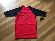 Hurley Mucho Mas Boys YOuth Rashguard Surf Top, Red & Black, Size Large, NWT