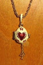 SLIGHT SECONDS FABERGE Cream ENAMEL Swarovsky Crystals RED Heart Key EGG pendant