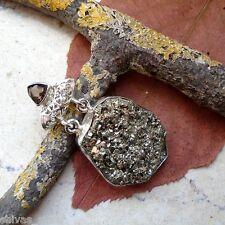 Pyrit Druse & Rauchquarz, Anhänger, 925 Sterling Silber
