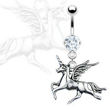 Unicorn Dangle w/ Prong CZ Navel Belly Ring