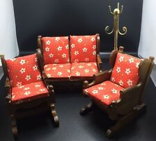 Vtg 1970s Price Products Wood Dollhouse Glider Rocking Chairs Couch Furniture