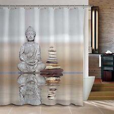 "Shower Curtain Buddha & Pebble Reflection Design Bathroom Waterproof Fabric 72"""
