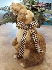 "14""T~ADORABL RAZ BUNNY RABBIT SISAL~MACKENZIE CHILD RIBBOn~EASTER SPRING WREATH"