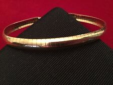 "14K Solid Yellow Gold Italian Flexible Omega 7"" Bracelet - Excellent ITALY"