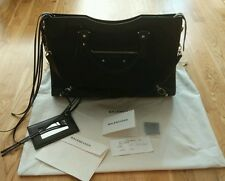 NEW Balenciaga black classic city leather raffia tote bag £1180