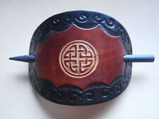 XMAS BIRTHDAY GIFT Hand Made Celtic Leather Hair Slide in [ BROWN  ] H1 BARRETTE