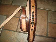 LEATHER GUITAR STRAP CUSTOM MADE WITH YOUR NAME AND CROSSES 2 1/2'' WIDTH