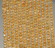 """3X2-2X1.5MM LIGHT CITRINE GEMSTONE GRADE AAA FACETED RONDELLE LOOSE BEADS 14"""""""