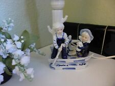 RARE Hand Painted BLUE DELFT LAMP 3 D Boating DUTCH GIRL & BOY Holland & Marked