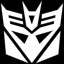 2x WHITE Transformers Decepticon Vinyl Decal Sticker Car Hood Window Laptop ipad