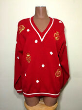 JH Collectibles Red Wool Sweater sz PM Vintage Nautical V-Neck Medium Petite Vtg