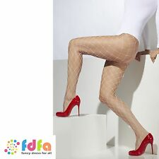 WHITE DIAMOND NET TIGHTS PANTYHOSE ladies fancy dress accessory womens hosiery