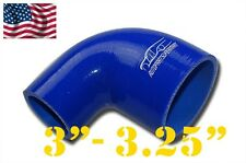 """4 Ply Silicone 90 Degree Reducer Elbow Joiner Hose 76mm - 83mm 3""""- 3 1/4"""" Blue"""