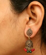 Ethnic Bollywood Jewelry Green Red Oxidized Indian Pearl Earrings Jhumka Jhumki