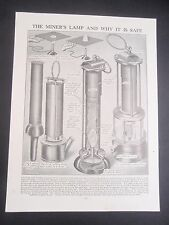 ? cómo funciona una lámpara de minero Antigua Vintage Retro Estampado de interés minero de carbón 1930s
