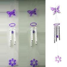 Lovely Butterfly Crystal 4 Metal Tubes Windchime Wind Chime Home Decor US YU