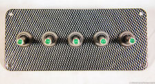 LED toggle switches - GREEN - w/  carbon fiber panel