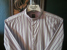 SMALL 14.5-31/32 COTTON IKE BEHAR PURPLE STRIPED BANDED COLLARLESS WESTERN SHIRT