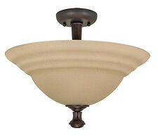 Old Bronze Energy Star Semi Flush Ceiling Light With Amber Water Glass