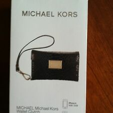 Authentic Michael Kors iPhone 4/ 4S Wallet Wristlet Case In Black Python Leather