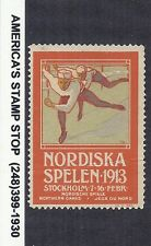 Sweden Nordic Games 1913 Cinderella Label Poster Stamp - Speed Skating*