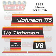 1981 Johnson 175 HP V6 Sea-Horse Outboard Reproduction 6 Pc Marine Vinyl Decals