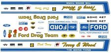 Official FORD Drag Team Torino 1970 1/18th Scale Waterslide Decals Drag NHRA