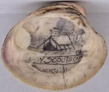 1913 Boy Scout Buckville Tamaqua Pennsylvania Sea Shell Art Sketch Camp Tent BSA