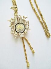 Vintage Pendant Necklace White Enameled Bird Cuckoo Clock Motif Gold Plated