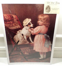 """Victorian Lithograph Print Picture """"Just Like Grandma"""" Girl Child And Dog  12X16"""