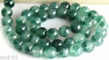 8mm Genuine Natural Smooth Green Emerald Round Gemstone Loose Beads Strand 15""