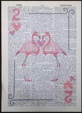 Vintage Fenicottero Rosa Carta Da Gioco Two Hearts Dizionario Pagina Stampa