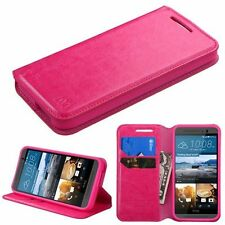 For HTC One M9 Hot Pink Leather Fabric Case Cover w/stand w/card slot