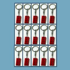 15 Lot Key Chain w/ Lego 3020 2x4 Red brick Plate Gift, Party Favor, Game Prize