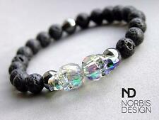 Men's Lava/Hematite Double Skull Bracelet with Swarovski Crystal 7-8inch