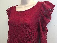 Forever 21 Long Sleeve Burgundy Lined Lace Dress Size S / P Small Clubwear Party