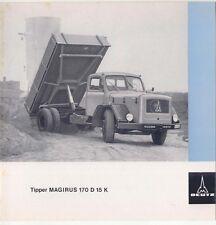 Magirus Deutz 170D 15K Original Sales Sheet 1964 Tipper