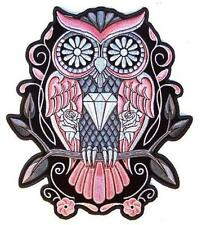 JUMBO EMBROIDERED PINK SUGAR OWL WITH DIAMONDS JBP060 9 INCHES sew iron back